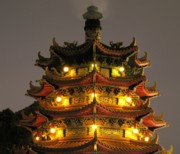 China Framed Prints - Chinese Pagoda by Night Framed Print by Yali Shi