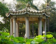 Lotus Leaves Framed Prints - Chinese Pavilion in a Lotus Flower Garden Framed Print by Yali Shi