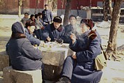 Summit Meetings Prints - Chinese People In Coats And Warm Hats Print by Everett