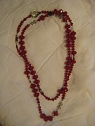 Hearts Jewelry - Chinese red crystal long necklace by Jan Durand