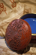 Lacquer Framed Prints - Chinese Red Lacquer Bowl Framed Print by Will & Deni McIntyre
