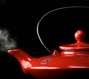 Teapot Metal Prints - Chinese red teapot Metal Print by Gabriela Insuratelu