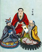 The Superstitions Framed Prints - Chinese Religious Leaders Framed Print by Sheila Terry