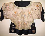 Antique Tapestries - Textiles - Chinese silk robe with exquisite hand embroidery featuring bird flowers butterflies dragon by Chinese embroidery master