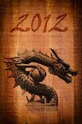 Animal Sculpture Drawings Posters - Chinese style dragon statue on the wood texture. Poster by Weerayut Kongsombut