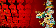 Bayonet Prints - Chinese style dragon statue with Chinese Red lanterns at night   Print by Chaloemphan Prasomphet