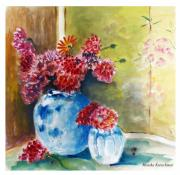 Gerbera Drawings - Chinese Vase by Monika Kretschmar