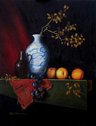 Stoneware Paintings - Chinese vase with peaches by Barry Williamson