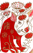 Astrology Drawings Prints - Chinese Year of the Pig Print by Barbara Giordano