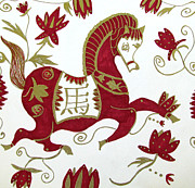 Ink Character Drawings - Chinese Zodiac Horse by Barbara Giordano