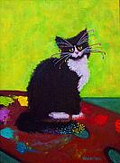 Tuxedo Cat Painting Framed Prints - CHING - The Studio Cat Framed Print by Valerie Aune