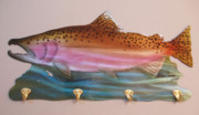 Fishing Sculpture Originals - Chinook Salmon Rack by Glen Cowan