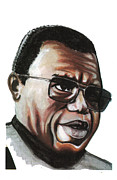 Bbc Drawings Prints - Chinua Achebe Print by Emmanuel Baliyanga