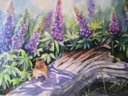 Blue Flowers Paintings - Chipmunk On Log With Lupine by Patricia Pushaw