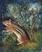 Paw Mixed Media Posters - Chipmunk With Teasel Poster by Diana Ludwig