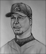 Hall Drawings Posters - Chipper Jones Poster by Pete Maier