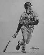 Braves Drawings - Chipper by Ryan Fritz