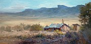 Desert View Paintings - Chisos Mountains-desert view by Tina Bohlman