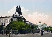 Kiev Framed Prints - Chmielnitzky Monument in Kiev - Ukraine - ca 1900 Framed Print by International  Images