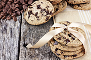 Goods Prints - Chocolate Chip Cookies and Chocolate Chips Print by Stephanie Frey