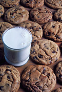 Delicacy Posters - Chocolate chip cookies and glass of milk Poster by Garry Gay
