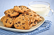 Macro Prints - Chocolate chip cookies and milk Print by Elena Elisseeva