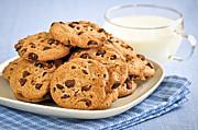 Chocolate Chip Cookies And Milk Print by Elena Elisseeva
