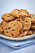 Chip Photo Posters - Chocolate chip cookies Poster by Elena Elisseeva