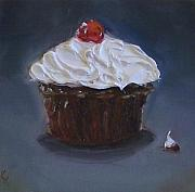 Kristine Kainer Paintings - Chocolate Cupcake with a Cherry by Kristine Kainer