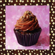 Baking Painting Posters - Chocolate Cupcake With Border Poster by Jai Johnson