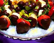 Grapes Paintings - Chocolate Dipped Fruit by Jai Johnson