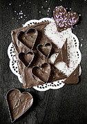 Doily Framed Prints - Chocolate Honey Cakes In Heart Shape Framed Print by Cultura/Line Klein