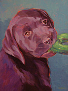 Lab Puppy Posters - Chocolate Lab Chew Toy Poster by Shawn Shea