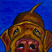 Pet Oil Paintings - Chocolate Lab Nose by Roger Wedegis