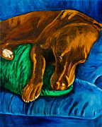 Labrador Retriever Paintings - Chocolate Lab On Couch by Roger Wedegis