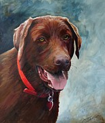 Chocolate Lab Prints - Chocolate Lab Portrait Print by Suzanne Schaefer