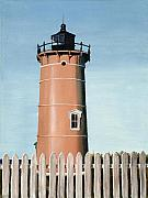New England Lighthouse Paintings - Chocolate Lighthouse by Mary Rogers