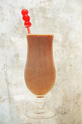 Isolated Mixed Media Prints - Chocolate Milk With Cherries On Top Print by Andee Photography