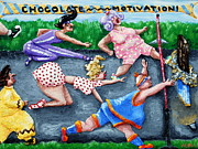 Dots Reliefs Prints - Chocolate Motivation Print by Alison  Galvan
