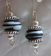 Silver Turquoise Jewelry - Chocolate Swirl Earrings by Janet  Telander