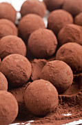 Truffles Posters - Chocolate truffles with cocoa powder  Poster by Ilan Amihai