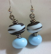 Abstract Jewelry - Chocolate with Turquoise Cream Earrings by Janet  Telander