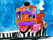 Machinery Painting Posters - ChooChoo Train Poster by Gina Barba Age Five
