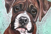 Boxer Puppy Paintings - Choose Me by Erlinde Ufkes Stephanus