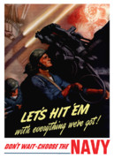 Us Propaganda Digital Art - Choose The Navy WW2 by War Is Hell Store