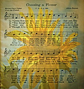 Old Sheet Music Posters - Choosing A Flower Poster by Gwyn Newcombe