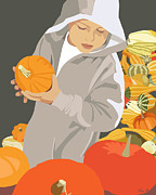 Autumn Scene Digital Art - Choosing a Pumpkin by Kris Hackleman