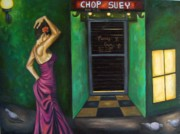 Purple Dress Posters - Chop suey Poster by Leah Saulnier The Painting Maniac