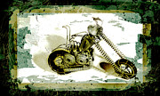 Wheels Pyrography Prints - Chopper 1 Print by Mauro Celotti