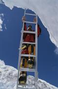 Sporting Equipment Framed Prints - Chris Binggeli Climbs A Ladder Framed Print by Bobby Model